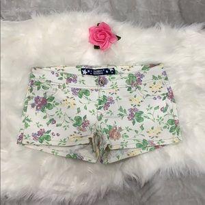Celebrity Pink  Floral White Shorts